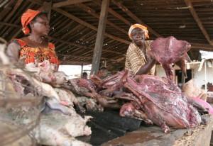 Metslooma liha turg Abidjanis Elevandiluurannikul.  Allikas: http://www.ibtimes.com/ebola-outbreak-2014-fear-virus-drives-ghanas-bush-meat-market-ground-1715430